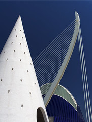 Valencia's Ciudad de las Artes y las Ciensias, Spain - Agora and suspension bridge 2 (Jon Bower) Tags: city blue sky geometric glass architecture modern spain arts azure ciudad cloudless artes palau sciences agora concret hemisferic aluminim valenica umbracle modernistic ciensias meseu