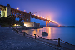 Right In The Night (Allard Schager) Tags: sf sanfrancisco california longexposure nightphotography bridge blue red usa mist fog proud architecture america spring nikon downtown nightshot symbol unitedstatesofamerica landmark icon