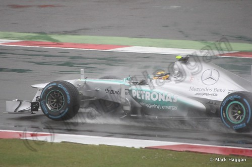 Lewis Hamilton in Free Practice 1 for the 2013 British Grand Prix