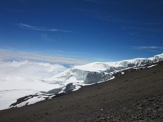 View of the glaciers from Uhuru Peak