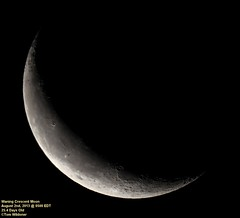 Waning Crescent Moon August 2 2013 (Tom Wildoner) Tags: summer sky moon night canon timelapse time august crescent craters telescope crater astrophotography astronomy nightsky universe phase solarsystem lapse meade phases waning lx90 waningcrescent 2013 tomwildoner