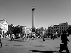 200. Long Shadows (1Q89) Tags: street sky people white black london trafalgarsquare nelson column