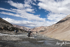Water crossing. (Abhijith B.Rao) Tags: india motorcycles thunderbird leh ladakh royalenfield jammukashmir rtmc 350cc watercrossing nikond80 sigma100200mmf4056 2012august rollingthundermotorcycleclubbangalore