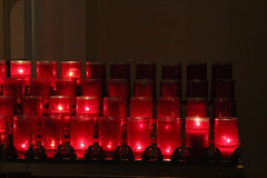 Church Candles, May 2012 (marylea) Tags: may7 2012 stthomastheapostlecatholicchurch stthomasaa catholic symbols faith annarbor candles red prayers michigan stthomastheapostlechurch catholicchurch romancatholic stthomas spierrohns frederickhspier williamcrohns church