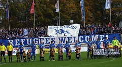 """Oldenburger Fan Initiative, Germany, say """"refugees welcome"""" (Fare network) Tags: action weeks fare antiracism discrimination notoracism socialinclusion footballpeople footballagainstracismineurope notodiscrimination refugeeswelcome fareactionweeks fareaktionswochen fightdiscrimation"""