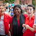 (Left to right) Judy Sisouvong, Nyima Sabally and Jessie Tiger watch the judges for a reaction during the Brickyard Cupcake War.