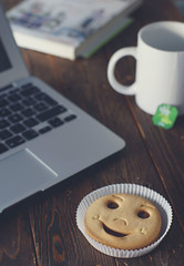Happy morning! ({Lydia}) Tags: morning breakfast cookie tea working macbook