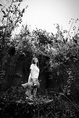 Teddy (nickodim) Tags: bear portrait bw white black girl monochrome teddy pentax sigma k10d