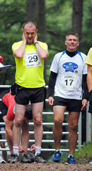 Gordon Davidson of The Scottish Farmer and Jonnie Hall of NFU Scotland shake off the midges at the start line. Photo courtesy of Karen Carruth, The Scottish Farmer