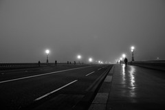 Empty Bridge (A-Lister Photography) Tags: road city uk bridge winter light england blackandwhite mist cold reflection london wet westminster weather silhouette horizontal misty fog night reflections dark walking landscape lights still frost alone glow cityscape shadows silent shine pavement empty foggy citylife streetphotography dramatic freezing peaceful frosty landmark icon silence freeze citylights glowing commuting lonely shiney innercity copyspace icy iconic walkers stillness atmospheric commuters westminsterbridge reallife cityoflondon winterlandscape realpeople londonicon wetreflections icycold cityworkers cityphotography coldtemperature iconiclondon mistylandscape adamlister nikond5100 alisterphotography