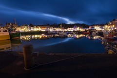 Padstow at night (Chris Key) Tags: light sea sky reflection water night clouds canon buildings boat cornwall raw nightshot harbour rope slowshutter padstow 550d
