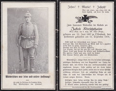 Sterbebild for Jakob Kirschthaler, Ersatz-Reserve der bayer. 18. Infanterie Regiment ( drakegoodman ) Tags: portrait soldier postcard rifle helmet worldwarone ww1 greatwar firstworldwar worldwar1 weltkrieg germanarmy pickelhaube germansoldier rppc infantryman uberzug feldpost gew98 bir18