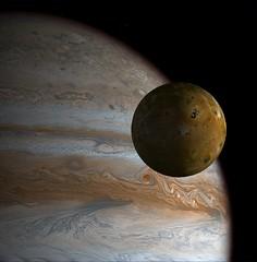 Close-Up of Io  with Jupiter (Maxwell Hamilton) Tags: io planet astronomy juipiter