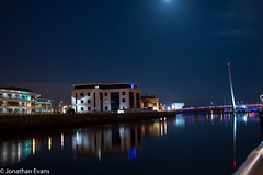 Swansea Marina (JonEvans94) Tags: bridge sky moon building water swansea night reflections lights photo nikon long exposure walk reflect about stroll d3200