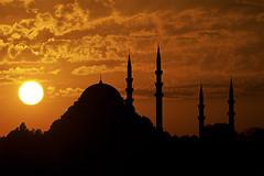 The Beautiful (koolandgang) Tags: sunset sun silhouette backlight night nikon cloudy islam thecity istanbul mosque suleymaniyemosque sleymaniyecamii sungoesdown dreamcity nikon70300vr d700 suleymanthemagnificent nikond700