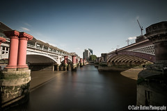 (Claire Hutton) Tags: road old city uk longexposure bridge light shadow red two england urban sun sunlight london water station train river town shadows view post pillar bridges rail wideangle le desaturation both daytime blackfriars desaturated posts pillars riverthames remains remnants csc ndfilter 10stop nd110 bw110 tamron1024mm sonynex5r