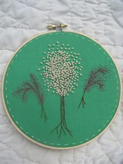 white and pink blossom trees (TheGirlintheLane) Tags: pink wedding white flower tree green art home floral wall hoop design spring colorful needlework blossom sweet handmade embroidery sewing small country craft sew textile fabric etsy fiber decor stitched embroidered sewn needlecraft