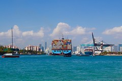 Government Cut, Miami Harbor (daysi~) Tags: shadesofblue colourful clouds miamibeach mar canon cargo ships sobe governmentcut southbeach daisyschechter