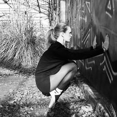 Urban Ballerina (2). (vues_de_mon_balcon) Tags: dance danse dancing danseuse ballerine ballerina urban city abandonned urbex woman girl blackandwhite urbain ville friche main hand