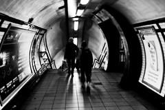 going to camden town (poxoloxo) Tags: bw blackandwhite city stadt london people streetshot street underground tube transportation dark