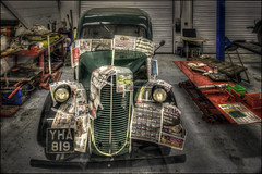 Respray Time (Darwinsgift) Tags: black country living museum dudley birmingham vintage car garage respray pce nikkor 24mm f35 d nikon d810 hdr photomatix