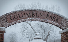 cpbanner (richardszeller) Tags: columbuspark park sign snow winter new newjersey nyc nikon nature sky outside trees usa art outdoors color photo camera city hackensack banner