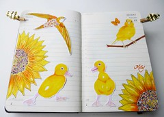 """ Happiness "" (Milagritos9) Tags: flores yellow butterfly eagle sketchbook amarillo sunflowers visualjournal lovebirds mariposa girasol canario birdportrait artistjournal visualdiary birdillustration moleskinejournals duckportrait patitoamarillo artistnotebook flowersillustration birdjournal inspirationaljournal sunflowerpoetry diarioilustrado dibujodeave happinesspainting moleskineartpages moleskinehandmade cuadernoillustrado moleskinediary2013 ducksillustration canarydrawing canariodibujo"