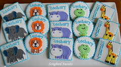 Animals for a Baby Shower (Songbird Sweets) Tags: elephant cookies lion frog giraffe hippo babyshower songbirdsweets