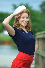 Pinup Salute (meganlangephotography) Tags: red water vintage hair outside dock salute posed patriotic lips sailorgirl pinup sailorhat