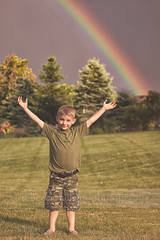 (Rebecca812) Tags: family trees boy sunlight cute nature grass kid rainbow colorful child joy son enjoyment armsoutstretched filmeffects canon5dmarkii rebecca812