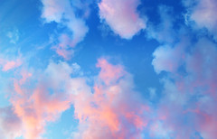 Colourful Winter Clouds (Sparkey Davis) Tags: pink blue winter light sunset sky orange colour texture nature water weather clouds evening pattern purple air vivid mottled