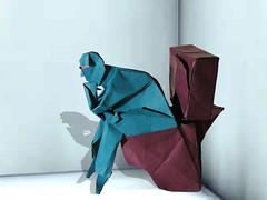 Pensador (Fernando Gilgado) (Danielle Verbeeten) Tags: art origami thinker papiroflexia folding denker gilgado papierkunst papiervouwen