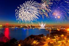 Macy's Fourth of July Fireworks - New York City on July 4, 2013 (mudpig) Tags: nyc newyorkcity longexposure ny newyork reflection skyline night geotagged newjersey cityscape fireworks smoke westvillage fourthofjuly macys hudsonriver gothamist westsidehighway independenceday barge hdr hoboken whotel mudpig stevekelley stevenkelley