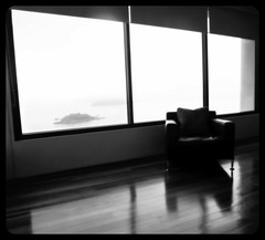 early morning @home, Darling Point, Sydney. (Elise Arod) Tags: sea window vintage mediumformat seaside chair mood loneliness view empty sydney australia 120film nsw analogue bluemoment lovefilm mamyia645 6x6film filmmeanssomethingtous darlingpont
