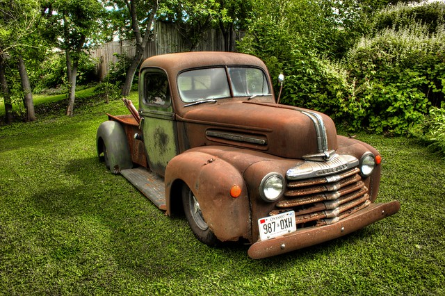 old classic canon rust pickuptruck hotrod custom hdr canning 1947fordmercury