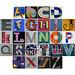 Multi-coloured letter alphabet