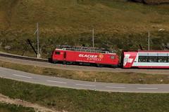 Glacier - Express Zug mit MGB Matterhorn Gotthard Bahn Lokomotive HGe 4/4 II Nr. 106 ( Baujahr 1990 ) mit dem Wappen St. Gotthard - S. Gottardo ( Ehemals FO Furka Oberalp Bahn )unterwegs am Oberalppass im Kanton Graubnden - Grischun in der Schweiz (chrchr_75) Tags: train de tren schweiz switzerland suisse suiza swiss eisenbahn railway zug september sua locomotive christoph svizzera bahn treno schweizer chemin centralstation sveits fer locomotora tog juna mgb lokomotive lok sviss ferrovia zwitserland sveitsi spoorweg suissa locomotiva lokomotiv ferroviaria  locomotief chrigu  szwajcaria rautatie 1309   2013 bahnen zoug trainen  chrchr hurni chrchr75 chriguhurni september2013 chriguhurnibluemailch albumbahnenderschweiz2013712 albummgbmatterhorngotthardbahn hurni130903 albumzzzz130903tomasee