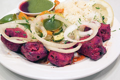 East Indian Lamb Kebab with Rice Closeup (JPLPhotographyPDX) Tags: white hot macro closeup dinner asian lunch cuisine lemon mediterranean rice sauce indian spice plate vegetable east onions meal lamb carrots steamed southeast grilled cilantro kebab herb chutney saffron tandoori dipping tamarind basmati bellpeppers