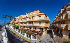 "San Jorge hotel and the ""Dog and Duck"" pub. (CWhatPhotos) Tags: san jorge hotel elba group blue dogandduck dogandduckpub dog duck inn pub adroad colorful colourful rooms wide angle photographs photograph pics pictures pic picture image images foto fotos photography artistic cwhatphotos that have which contain view spain holiday sun sunny hot warm skies sky canon 7d eos lens costa caleta de fuste fuerteventura canaries opteka 65mm fisheye fish eye manual prime focus aspherical sept september 2013 hol time flickr"
