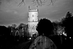 Cometh the darkness... (Dafydd Penguin) Tags: uk england bw white black church monochrome grave graveyard parish night dark bristol nikon noir hand shot bokeh britain 28mm churches held nikkor f18 afs d600 henleaze horfield vision:mountain=0503 vision:sky=0841 vision:outdoor=0718