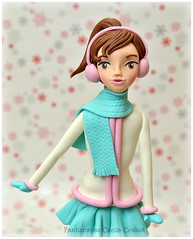 Skate Icing Girl (close-up) (Fantasticakes (Cécile)) Tags: winter ice girl birthdaycake sugarmodelling sugarcharacter skatingicing
