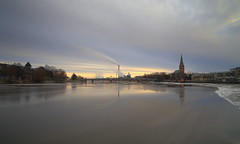 RiverView (samiKoo) Tags: city longexposure morning winter cold church canon finland river industrial december 6d