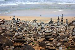 Cairns, Hanakapiai Beach (Emily Miller fine art) Tags: beach hawaii coast rocks hike na trail kauai cairns pali kalalau napali hanakapiai