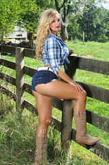 Curvy Cowgirl (lilbitrisque) Tags: woman hot sexy ass nature beautiful field shirt female pose outdoors model breasts tits legs boobs modeling gorgeous butt curves posing stomach babe curvy jeans thighs blond booty tummy blonde denim hottie cowgirl lovely plaid hotty daisydukes sexiness voluptuous jeanshorts 20something cutoffs babelicious dcups