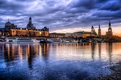 Dresden Waterfront (Photos On The Road) Tags: city sunset sky reflection water horizontal skyline architecture river germany evening dresden elba europa europe tramonto cityscape waterfront sundown cathedral ships fiume saxony palace sachsen baroque riverbank steamer navi hdr highdynamicrange elbe barocco germania dresda elaborazioni orizzontale sassonia flickrsfinestimages1 flickrsfinestimages2 viaggiosettembre2013