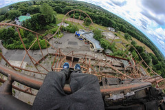 Camelot Theme Park - On top of the Knightmare (Jaron Levitt) Tags: park england urban abandoned canon ride diesel outdoor decay group sigma lancashire chorley resort fisheye explore story knights forgotten richard roller theme leisure camelot exploration legend coaster derelict powered urbex the charnock