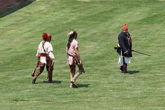French Soldier and Native American Warriors (Itinerant Wanderer) Tags: newyorkstate reenactment 18thcentury oldfortniagara fortniagarastatepark niagaracounty frenchandindianwarencampment