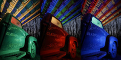 Glasgow Farm Truck Triptych (Notley Hawkins) Tags: rural missouri notley notleyhawkins 10thavenue httpwwwnotleyhawkinscom missouriphotography notleyhawkinsphotography lightpainting bluelight greenlight blue green night nocturne 光绘 光繪 lichtmalerei pinturadeluz ライトペインティング प्रकाशपेंटिंग ציוראור اللوحةالضوء abandoned ruralphotography chartitoncountymissouri red redlight rgb outdoor 2017 riverbottoms missouririverbottoms truck farmtruck chevrolet march garage shed tio triad triptych