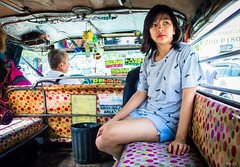 Beauty (BNDC) Tags: manila street stolen people emotion girl city new life ordinary morning summer weather hot candid circle jeep car staring colors color eyes