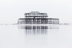 Brighton's West Pier at low tide (lomokev) Tags: green file:name=1703295dmrk33142 westpier pier derelict structure reflection sand ground ratseyeview low groundlevel beach brighton blackandwhite canoneos5dmarkiii canoneos5dmark3 canon eos 5d